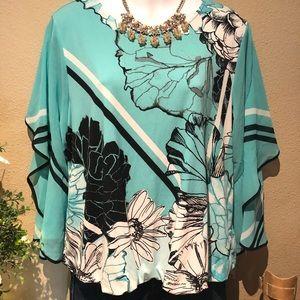 Turquoise Blouse XL Petite Alfani Floral Tuck
